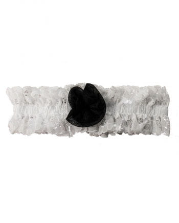 Garter White With Black Rose