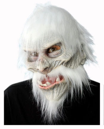 White Warrior Mask with Hair