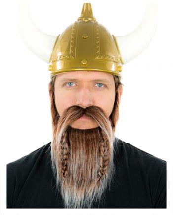 Wikinger Bart Braun-Weiß Meliert
