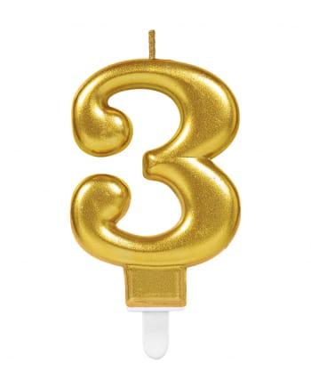 Metallic Zahlenkerze 3 Gold