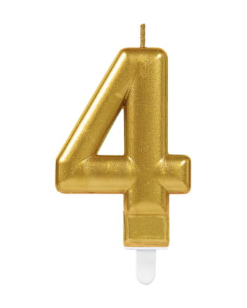 Number Candle 4 Metallic Gold