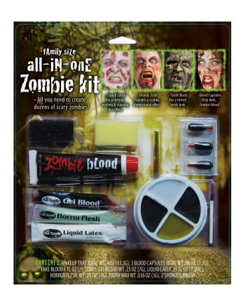 12-teiliges Zombie Schmink Set