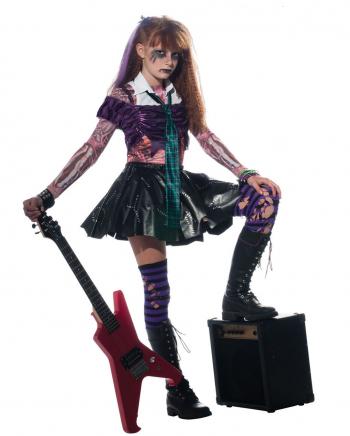 Zombie Punk Rocker Girl Kinderkostüm