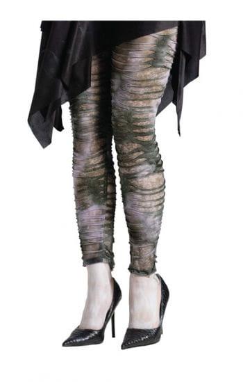 Tattered Zombie Leggings Grey/Green