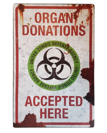 Zombie Organ Donations Metallschild