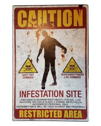 Zombie Quarantine Zone Metal Sign