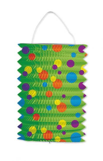 Lampion grün mit bunten Punkten