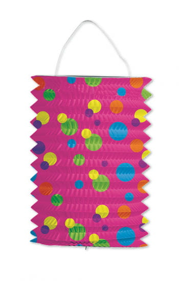 Lampion pink mit bunten Punkten