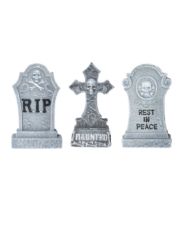 3-piece Tombstone Set Made Of Polyresin