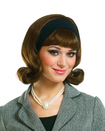 50s Wig Brunette With Hairband