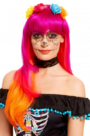 Pink Day Of The Dead Wig With Flowers