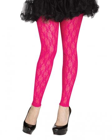 80er Jahre Spitzen Leggings Neon Pink