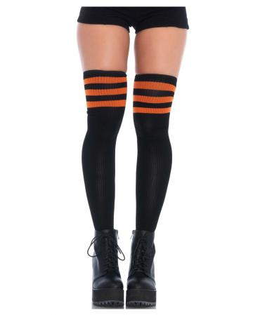 Athletisch gerippte Overknees schwarz-orange
