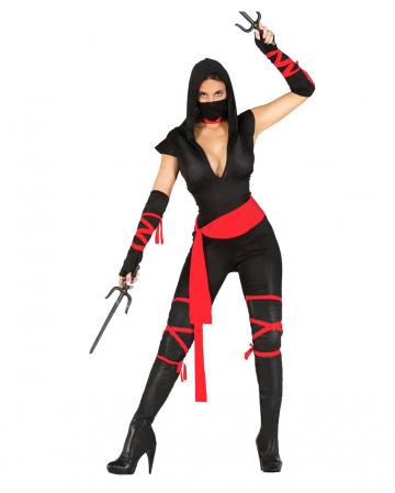 Schwarze Ninja Kriegerin Kostüm