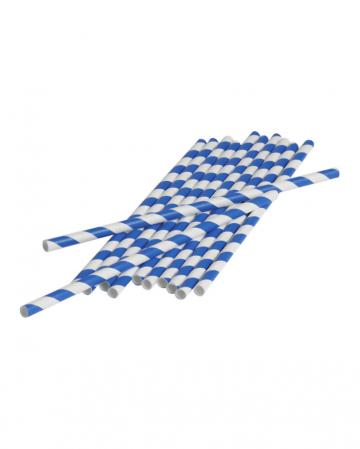 12 Papier Trinkhalme Blau Weiß