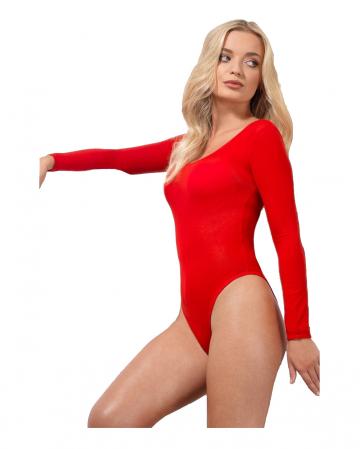 Roter Blickdichter Langarm Body