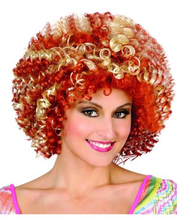 Rot-blonde 70er Afro Perücke