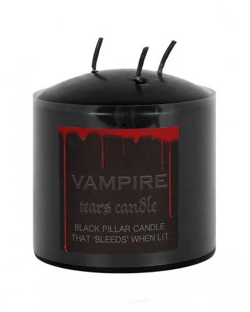 Schwarze Stumpenkerze mit Vampir Blut 7,5cm