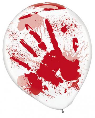 Blutverschmierte Hände Latex Ballons 6 St.