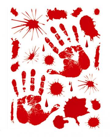 Blutige Hände & Blutspritzer Fenstersticker