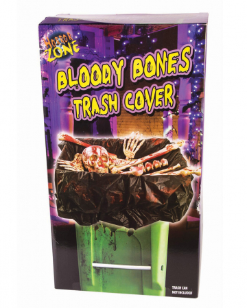 Blutige Knochen als Mülltonnen Deko