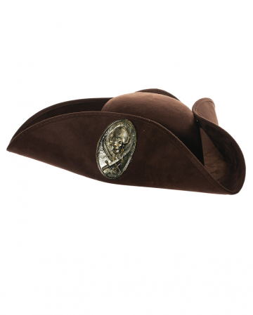 Brown Pirate Tricorn With Emblem