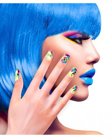 Colourful Neon 80s Fingernails 12 Pcs.