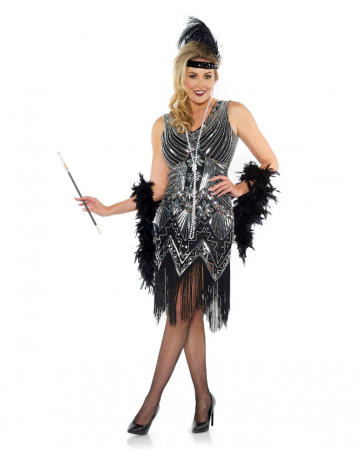 Charleston Ladies Costume With Glitter Black