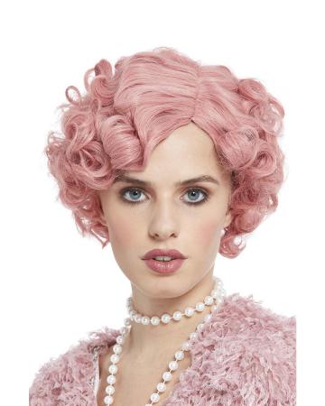Ladies Short Hair Wig Flirty Flapper Pink