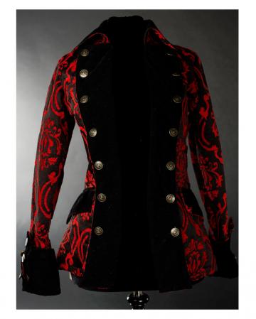 Schwarz-rote Brokat Piratenjacke für Damen