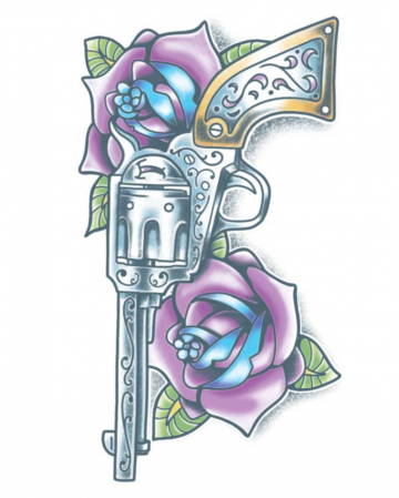 Day Of The Dead Glue Tattoo Revolver