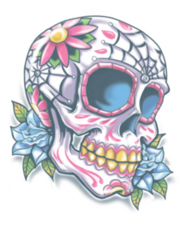 Tag der Toten Klebetattoo Sugar Skull