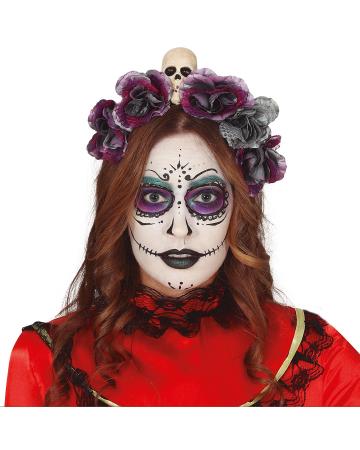 Tag der Toten Schädel Diadem mit Blumen