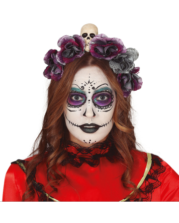 Dia De Los Muertos Skull Hairband With Flowers