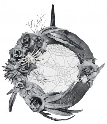Edler Halloween Türkranz mit Spinnen & Rosen