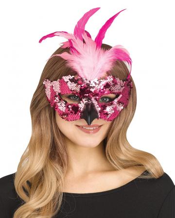Flamingo Maske mit Pailletten und Federn