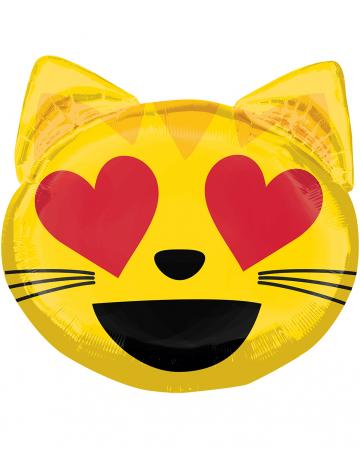 Emoji verliebte Katze Folienballon 55cm
