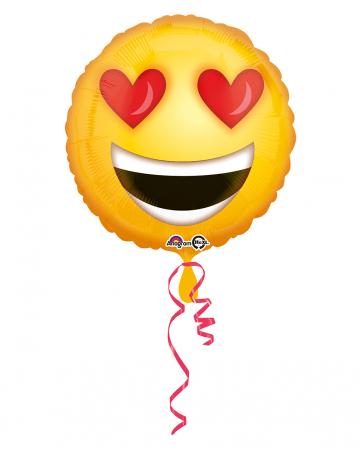 Foil Balloon Emoji Smiley In Love 43cm