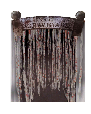 Graveyard Door Sign With Rag Curtain