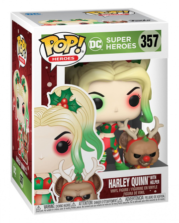 Funko Pop Heroes DC Holiday Harley Quinn with Buddy PopShield