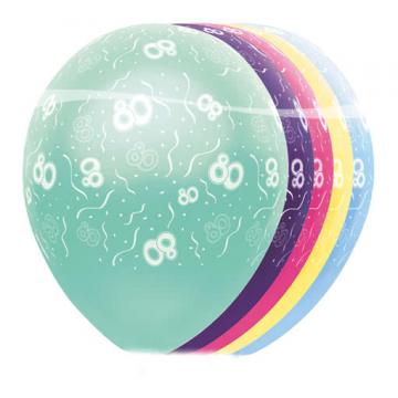 5 St. Geburtstagsballons 80