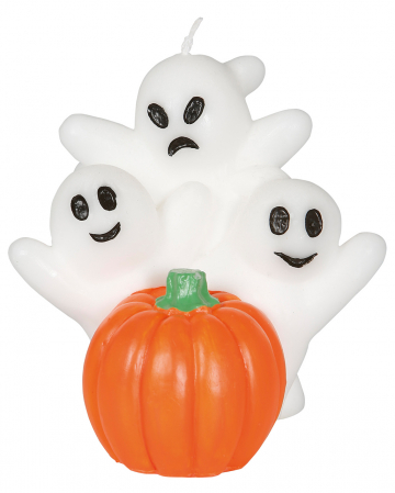 Ghosts On Pumpkin Candle 10cm