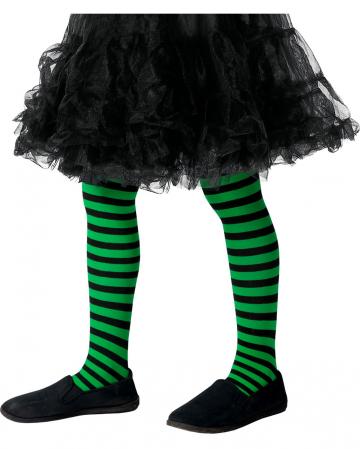 Striped children's tights green-black