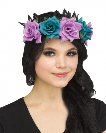 Glittering Fairy Crown With Flowers Black
