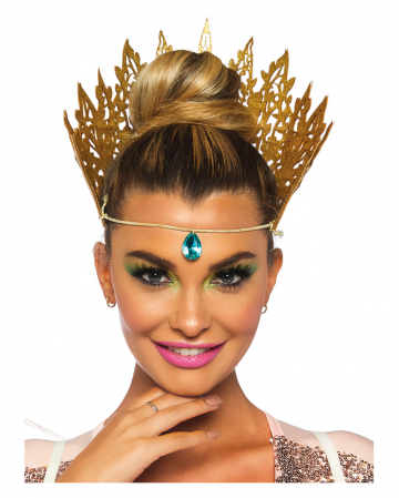 Golden Glitter Crown With Jewel