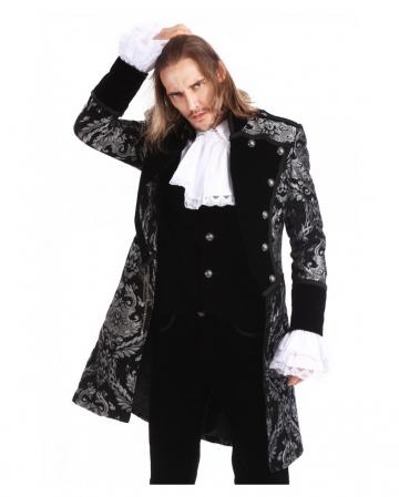 Gothic Aristokrat Herren Mantel Silber Brokat