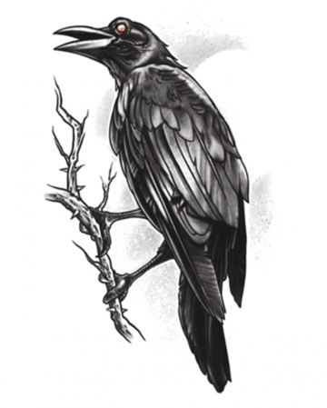 Gothic Glue Tattoo Raven