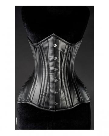 Gothic Vollbrustkorsett Schwarz aus Kunstleder