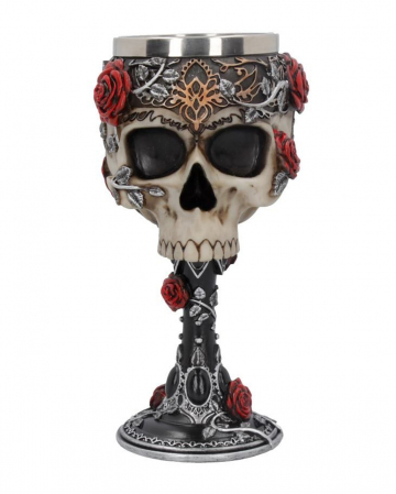 Gothic Skull Cup With Roses