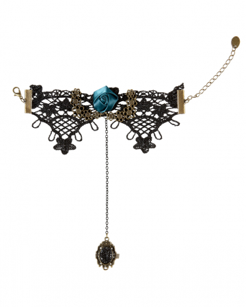 Gothic lace bracelet with ring finger